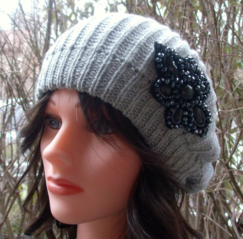 stylish beret with applique